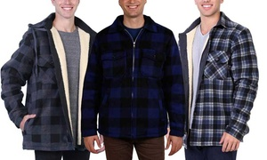 Maxxsel Men's Sherpa-Lined Plaid Flannel Jacket (M-5XL)