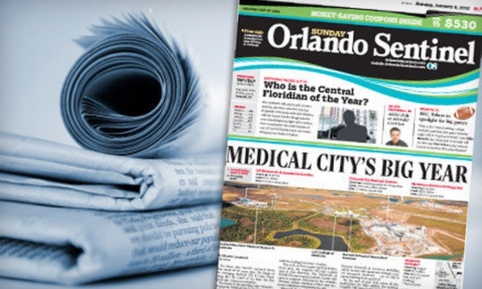 """Orlando Sentinel - Orlando: $10 for a One-Year Sunday-Only Subscription to the """"Orlando Sentinel"""" ($85.08 Value)"""