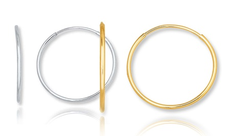 14K Solid Yellow or White Gold Endless Hoop Earrings. Multiple Sizes From $29.99–$39.99.