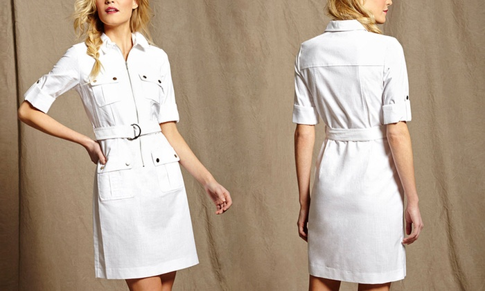 de05e394f9a Sharagano Belted Shirt Dress