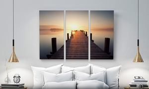 "CanvasOnSale: One Custom 36""x24"", 48""x24"", or 60""x40"" Three-Panel Canvas Print from CanvasOnSale Up to ( 91% Off )"