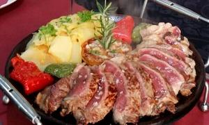 La Teta de la Vaca: Menú para dos personas con bife uruguayo o risotto, entrantes, postre y bebida desde 29,90 € en La Teta de la Vaca