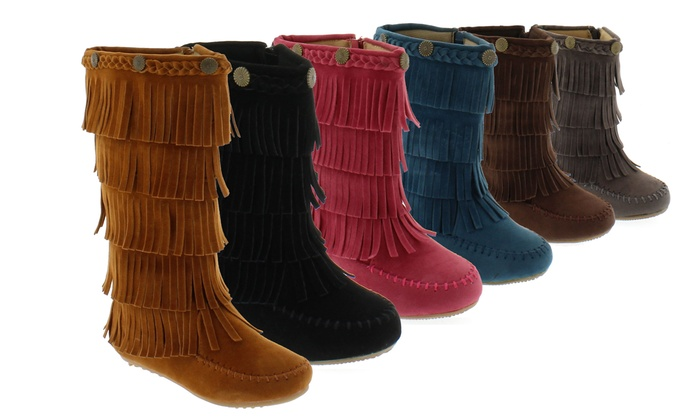 Toddlers' Fringe Moccasin Boots | Groupon Goods