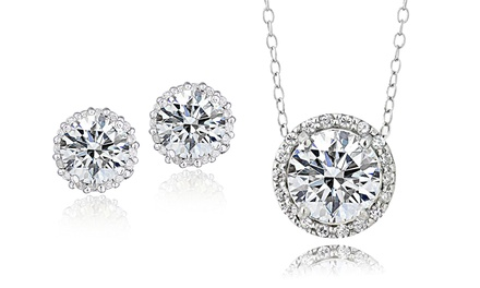 2.00 CTTW Cubic Zirconia Halo Necklace or Earrings