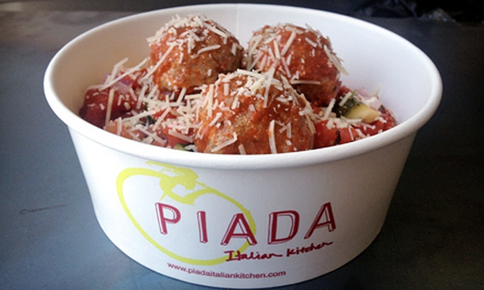 Piada Italian Kitchen - Post Road North: $15 for Three Groupons, Each Good for $10 Worth of Italian Food and Drinks at Piada Italian Kitchen ($30 Total Value)
