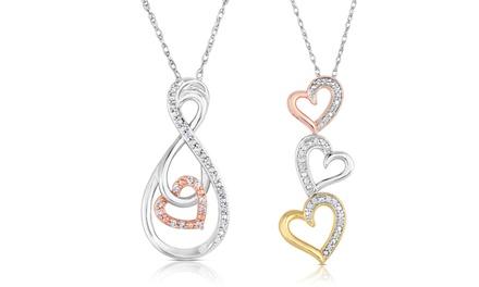 1/10 CTTW Diamond Heart Pendants