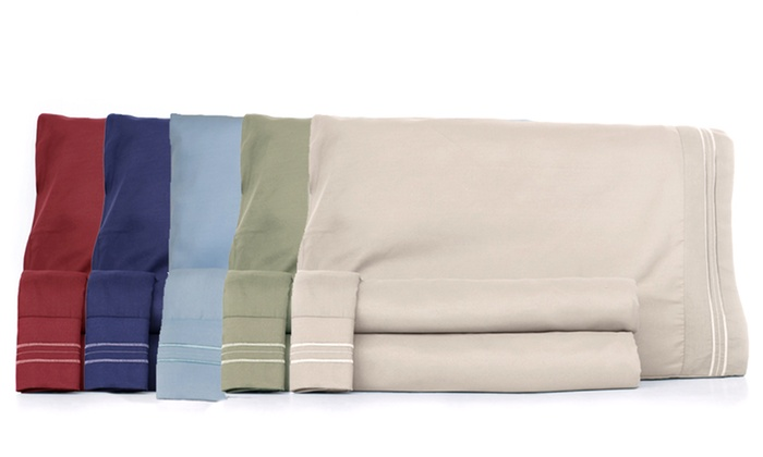 Embroidered Microfiber 4-Piece Sheet Sets: Embroidered Microfiber 4-Piece Sheet Sets. Multiple Colors Available.