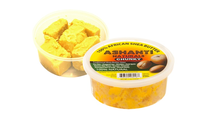 2-Pack of Chunky 100% African Shea Butter: 2-Pack of Chunky 100% African Shea Butter; 5 Oz. Each