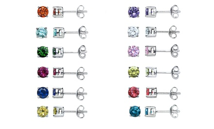 12-Pair Set of Cubic-Zirconia Stud Earrings