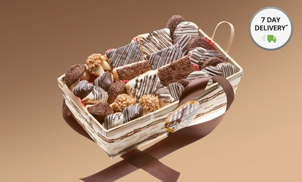 30-Piece Chocolate Gift Basket with Chocolate- or Nut-Covered Crispy Rice Bars, Oreos, and Fortune Cookies