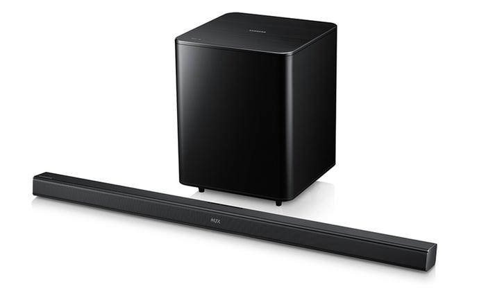 Samsung Premium Slim Sound Bar with Wireless Bluetooth and Subwoofer: Samsung Premium Slim Sound Bar with Wireless Subwoofer, Bluetooth and HDMI Cable (Manufacturer Refurbished)