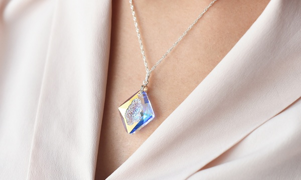 Ah! Jewellery®, collier en argent sterling, avec cristaux Swarovski® Rhombus
