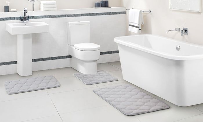 ... Embossed Memory Foam Bath Rug Set (3 Piece): Embossed Memory Foam Bath