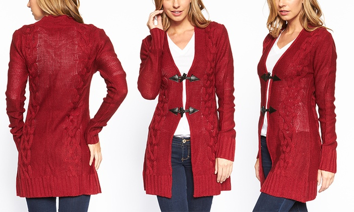 Women's Long Cable-Knit Toggle Cardigan | Groupon