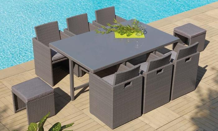 Salon de jardin résine tressée/aluminium | Groupon Shopping