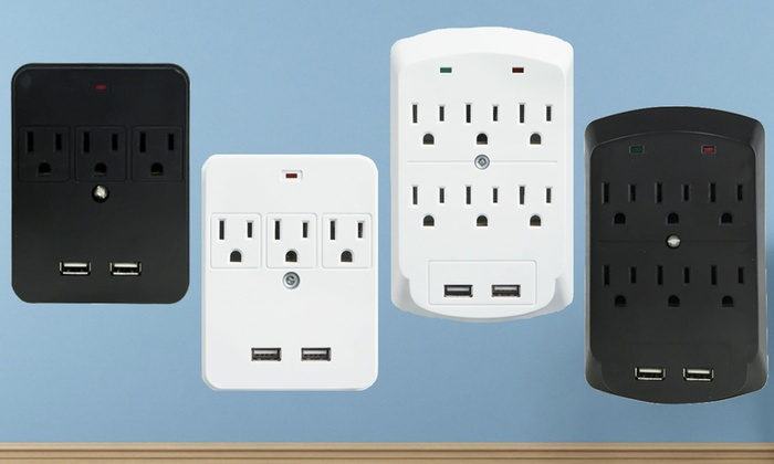 Masterplug 3- or 6-Outlet Dual-USB Charging Wall Taps (Single, Double, Triple Pack)