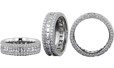 Cubic Zirconia 3-Row Eternity Ring in 18K White Gold