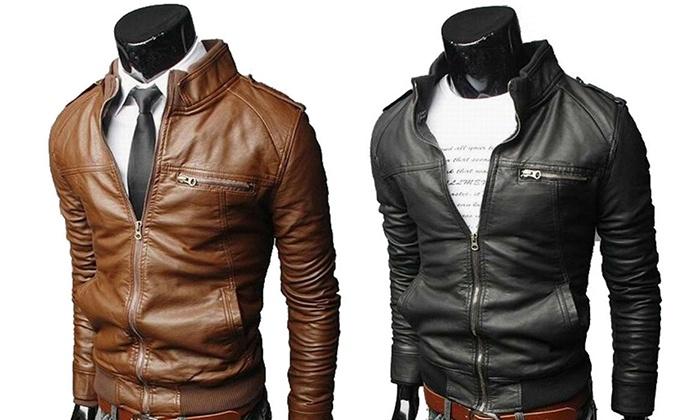Quantité limitée Vente prix plus bas avec Veste simili cuir homme | Groupon Shopping
