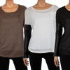 Women's Scoop-Neck Top with Faux-Leather Sleeves
