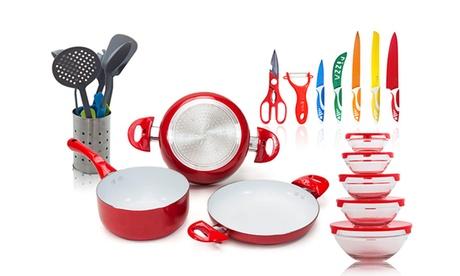 Set de cocina de 21 piezas disponible en rojo o verde