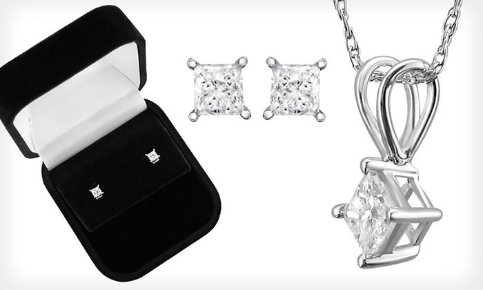 Diamond Jewellery in 14-Karat White Gold: Princess-Cut Diamond Stud Earrings, Pendant Necklace, or Necklace and Earring Set in 14-Karat White Gold (Up to 72% Off)
