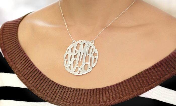 Monogram Online: $50 for a 2-Inch Traditional Silver Monogram Necklace from Monogram Online ($149 Value)