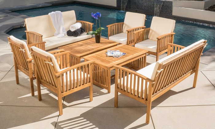 Fantastic 8 Piece Outdoor Seating Set Groupon Goods Caraccident5 Cool Chair Designs And Ideas Caraccident5Info