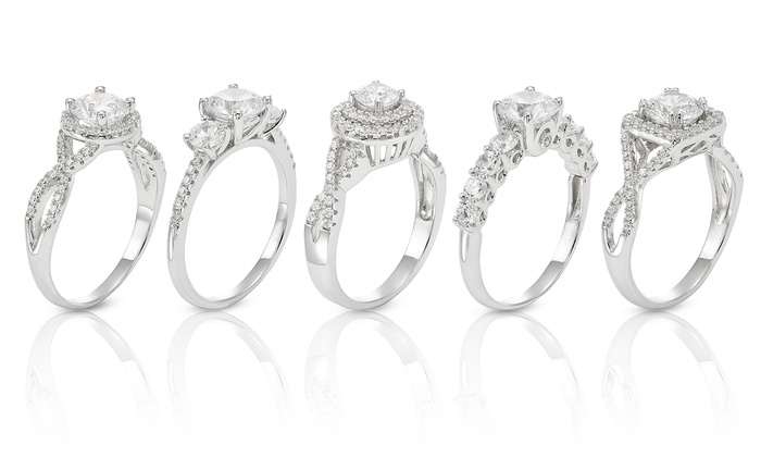 Swarovski Elements Crystal Bridal Rings in Sterling Silver Groupon