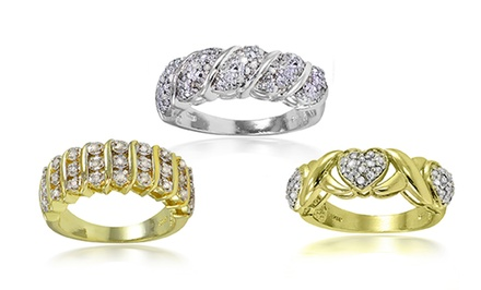 1/4 CTTW Diamond Ring in Gold or Rhodium Plating
