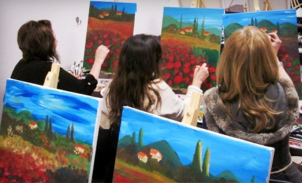 Three-Hour Painting Class with Wine Tasting or Two-Hour Painting Class for Two at The Artist In Me (Up to Half Off)