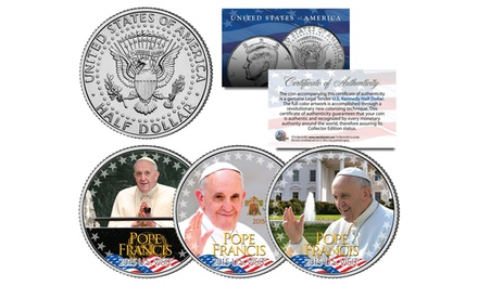 Pope Francis 2015 US Visit Commemorative Set of 3 Colorized 2015 JFK Half-Dollar Coins