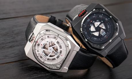 Reloj Automático Reign Asher de Cristal de Zafiro Semiesqueleto de Cuero Genuino