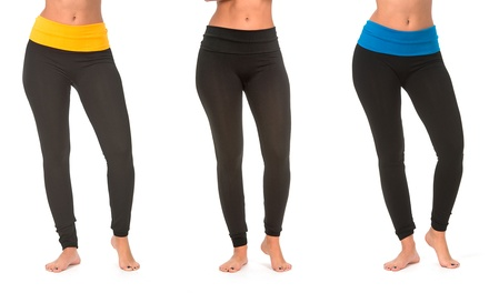 3-Pack of Yoga Leggings with Contrast Waistbands in Assorted Colors
