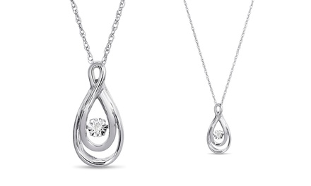 Swirl Teardrop Diamond Necklace in Solid Sterling Silver