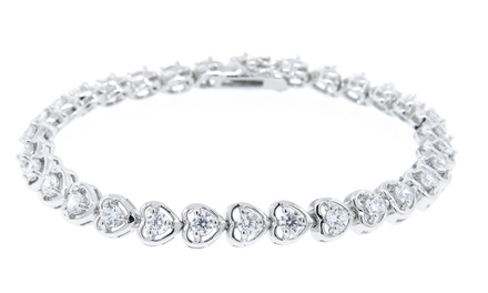 Cubic Zirconia Heart Tennis Bracelet