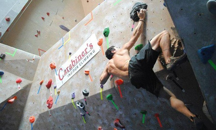 Climbing Packages at Carabiner's Climbing & Fitness (Up to 61% Off). Four Options Available.