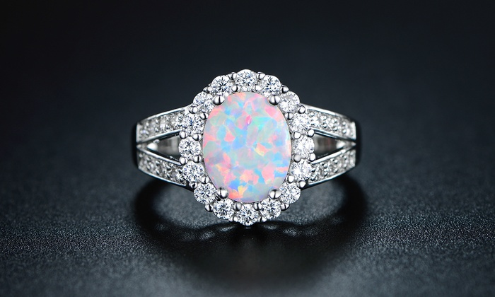 Very best White Gold Opal Engagement Ring with Cubic Zirconia (Size 7) | Groupon HI52