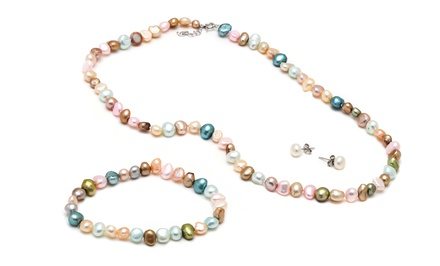 Multicolored Genuine Freshwater Pearl Earrings, Bracelet, and Necklace