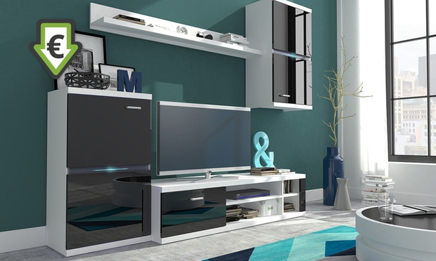 Mueble de sal n con luces led groupon goods - Groupon muebles salon ...