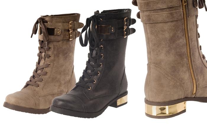 RELENT Women's Rachel Double-Buckle Combat Boots: RELENT Women's Double-Buckle Combat Boots in Black or Brown
