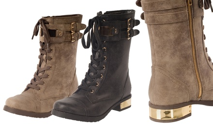 RELENT Women's Double-Buckle Combat Boots in Black or Brown