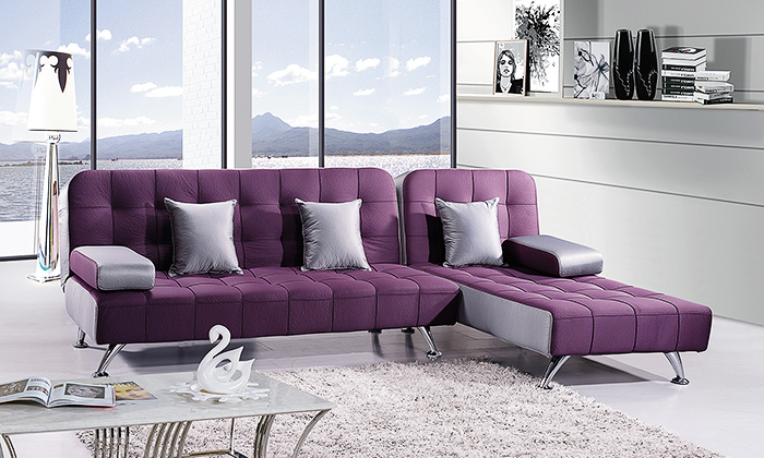 Choose From The Following Options Option 1 L Shape Fabric Sofa Bed Purple
