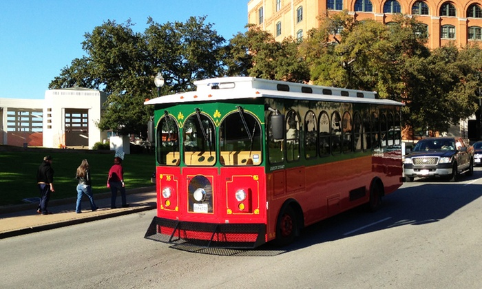 Dallas Trolley Tours - Downtown Dallas: One-Hour JFK Assassination Trolley Tour for One or Two from Dallas Trolley Tours (50% Off)