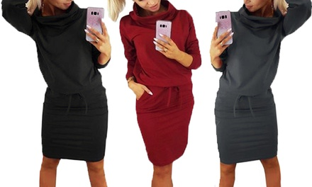 One or Two Cowl Neck Tie Waist Dresses