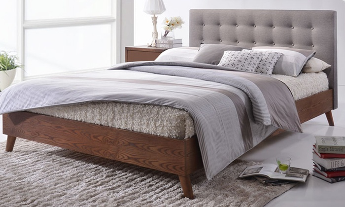 Fabric upholstered platform bed groupon goods for Beds groupon