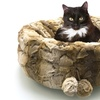 Round Pet Bed Cuddler with Micro Mink Velour Exterior and Pom Poms