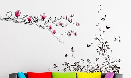 Vinilos decorativos con motivos florales y mariposas