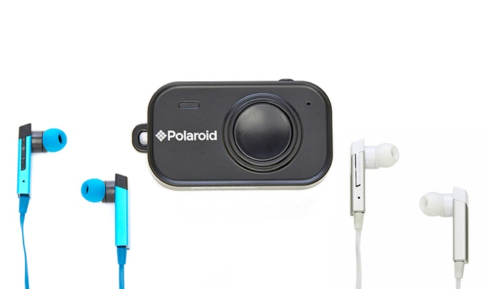 polaroid wireless selfie remote shutter or bluetooth earbuds groupon. Black Bedroom Furniture Sets. Home Design Ideas