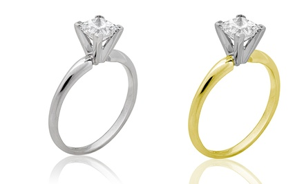 groupon daily deal - 1-Carat Princess-Cut Diamond Ring in 14K Gold by Aurora Diamond Collection. Free Returns.