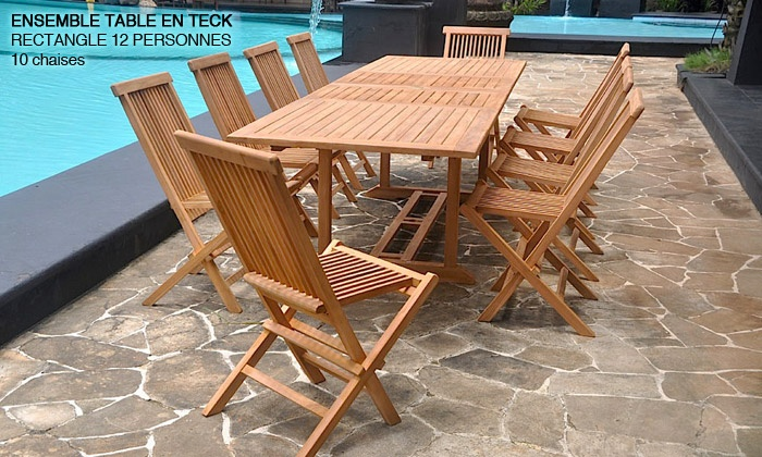 Salon jardin Teck brut | Groupon Shopping